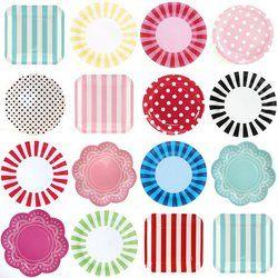Pretty Paper Plates via the tomkat studio - chevron stripes paisley scallop polka dot prints  sc 1 st  Pinterest & Pretty Paper Plates via the tomkat studio - chevron stripes ...