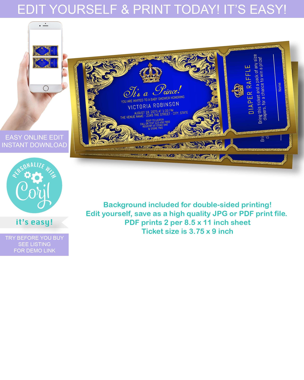 Royal Blue Gold Prince Baby Shower Invitation Prince Ticket