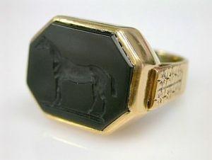 Onyx Horse Intaglio Ring