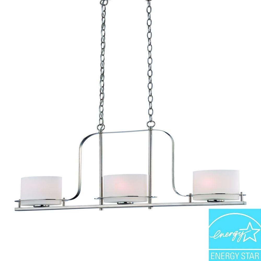 Illumine 3 Light Polished Nickel Island Pendant With Oval Frosted Glass Shade HD 5106