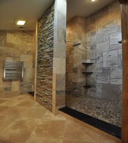 Awesome Tile And Rock Shower For Master Bath