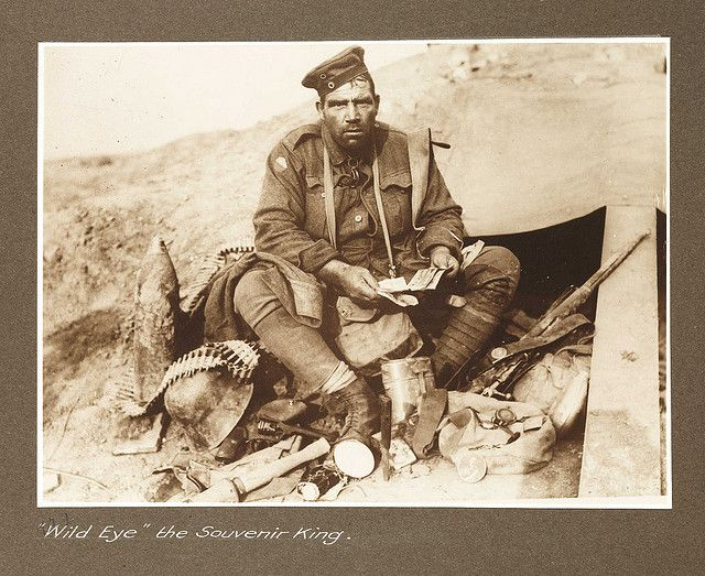 """Private Hines, """"Wild Eye"""", the Souvenir King of the Australian contingent in the First World War."""