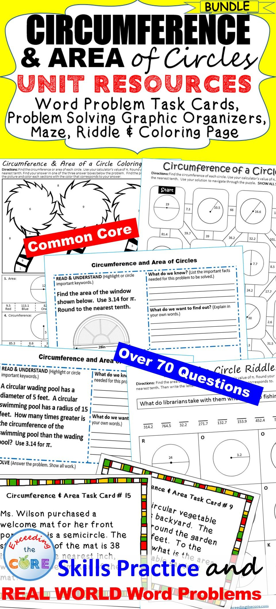 Circumference Area Of Circles Bundle Task Cards Word Problem