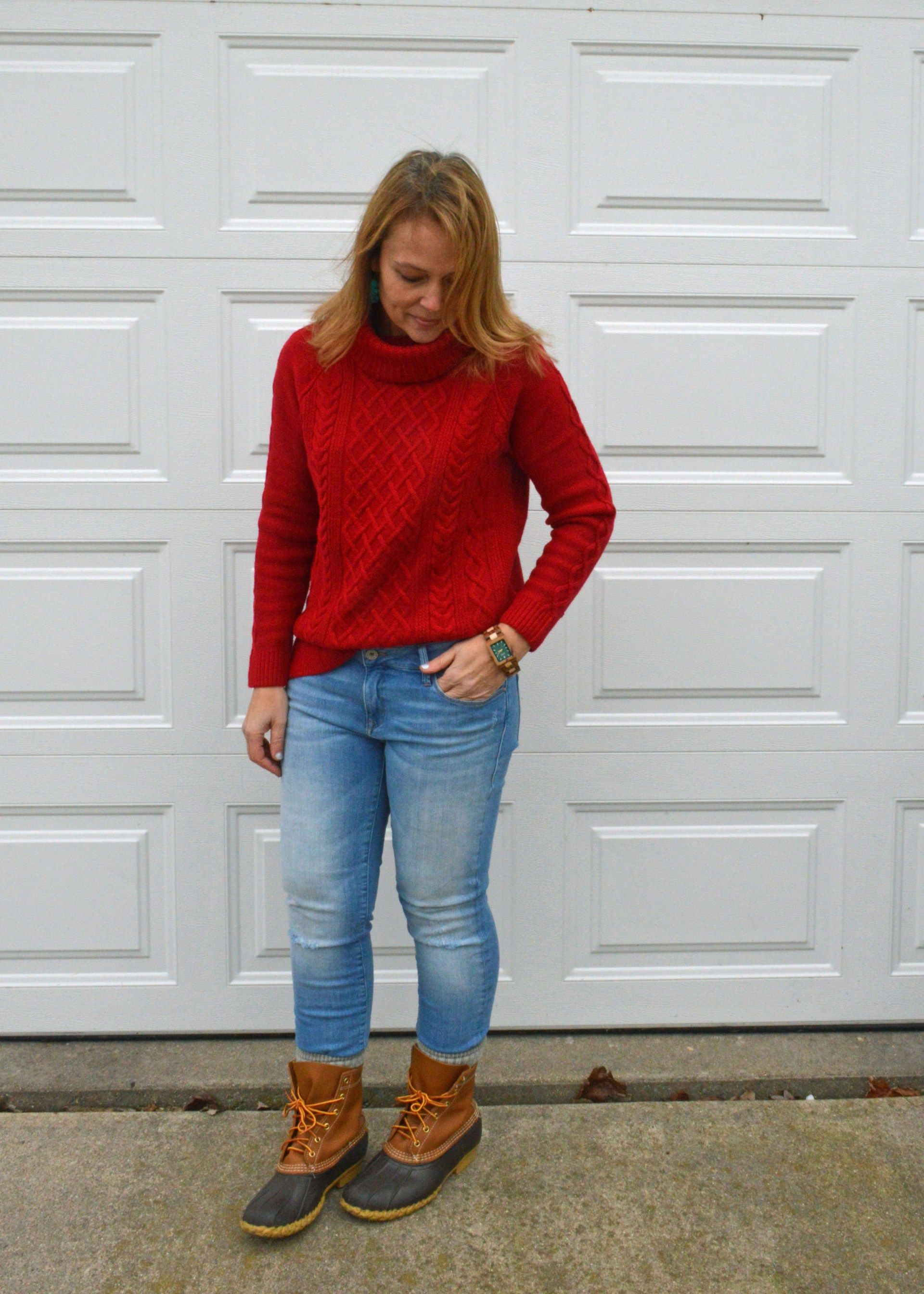 Winter outfit: red cable knit turtleneck, distressed jeans, Bean boots
