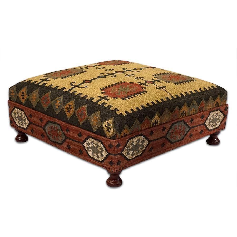Large Wool Kilim Jute Coffee Table Ottoman Square 39 D X 16 H