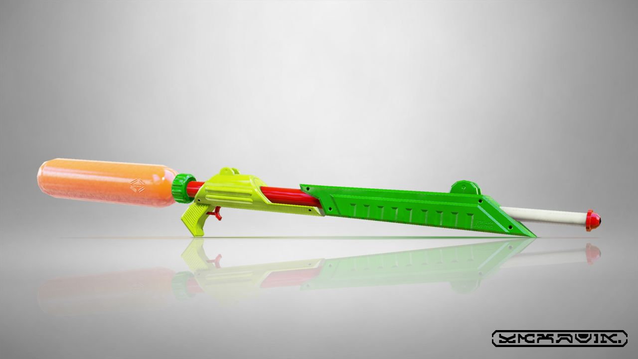 News flash! We've just confirmed that this weapon is called a Splat Charger. Apparently ink is pressurized in the tank and then fired off in powerful blasts that are super effective at hitting long-range targets. Sooo sweet!