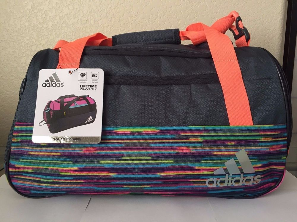 898401de40c7 ADIDAS Squad III Duffel Women Gym Bag Grey Multi-color Ventilated Shoe  pocket.  Adidas