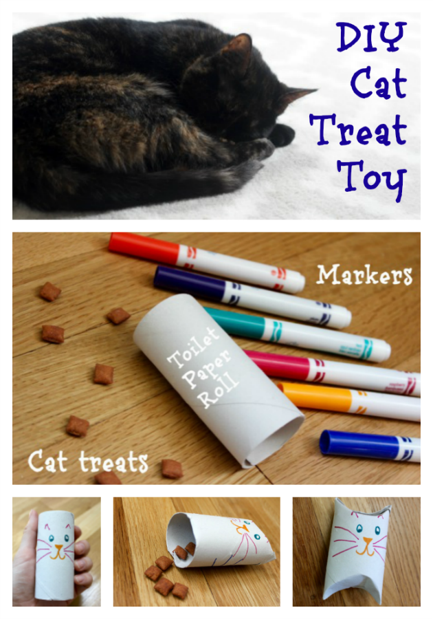 How To Make A Treat Cat Toy With A Toilet Paper Roll Cat Toys Diy Cat Treats Cat Diy
