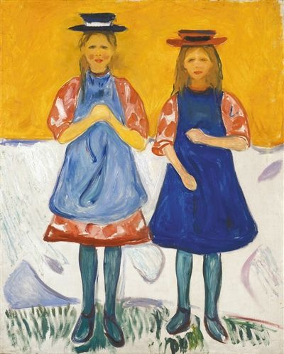 Two Little Girls with Blue Aprons, 1905 by Edvard Munch (Norwegian 1863–1944)