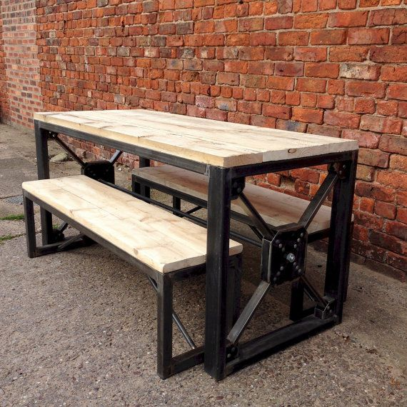 Projects Idea Of Steampunk Dining Table. Industrial Steampunk Reclaimed Wood Dining Table and Benches