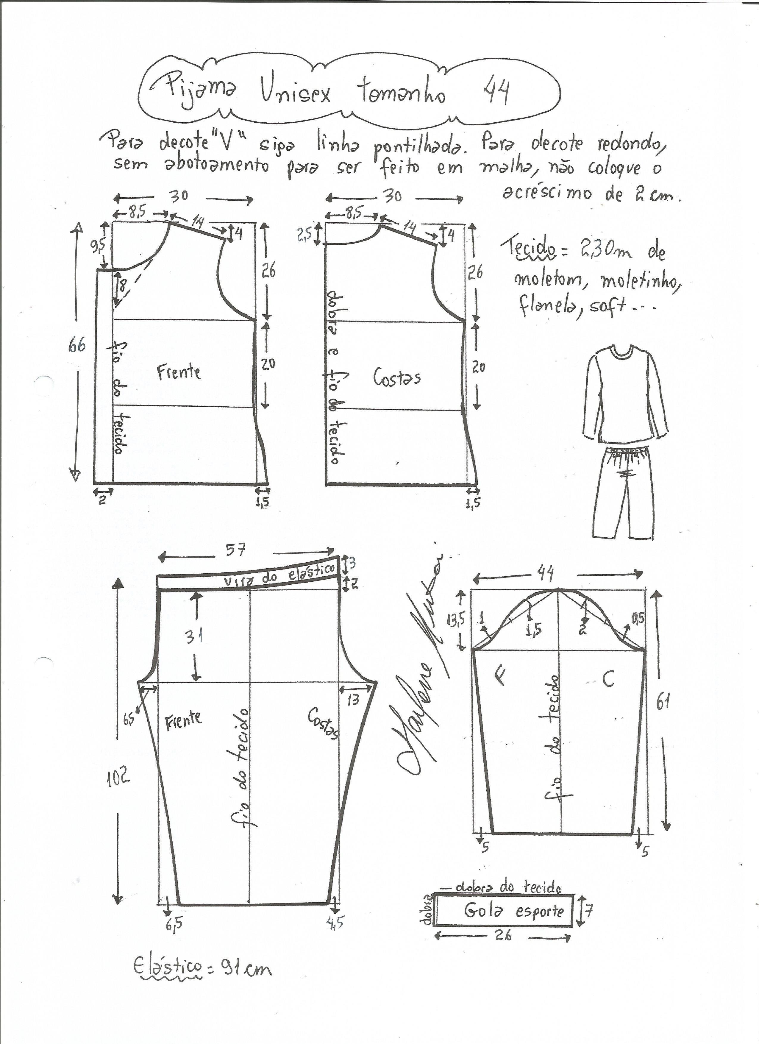 Patrón de Pijama Unisex | condismod lencería | Pinterest | Sewing ...