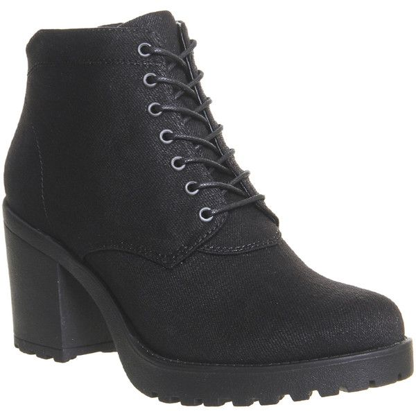 Vagabond Grace Canvas Boots (120 CAD) ❤ liked on Polyvore featuring shoes, boots, ankle booties, ankle boots, black canvas, women, black lace up boots, short boots, black ankle booties and lace-up ankle booties