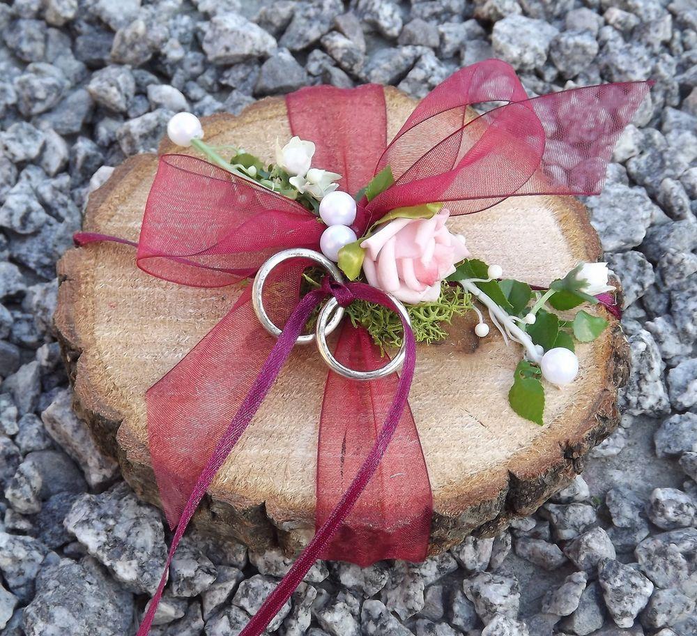 Ringkissen Ringhalter Holzscheibe rund weinrot weinrot für Trauringe …