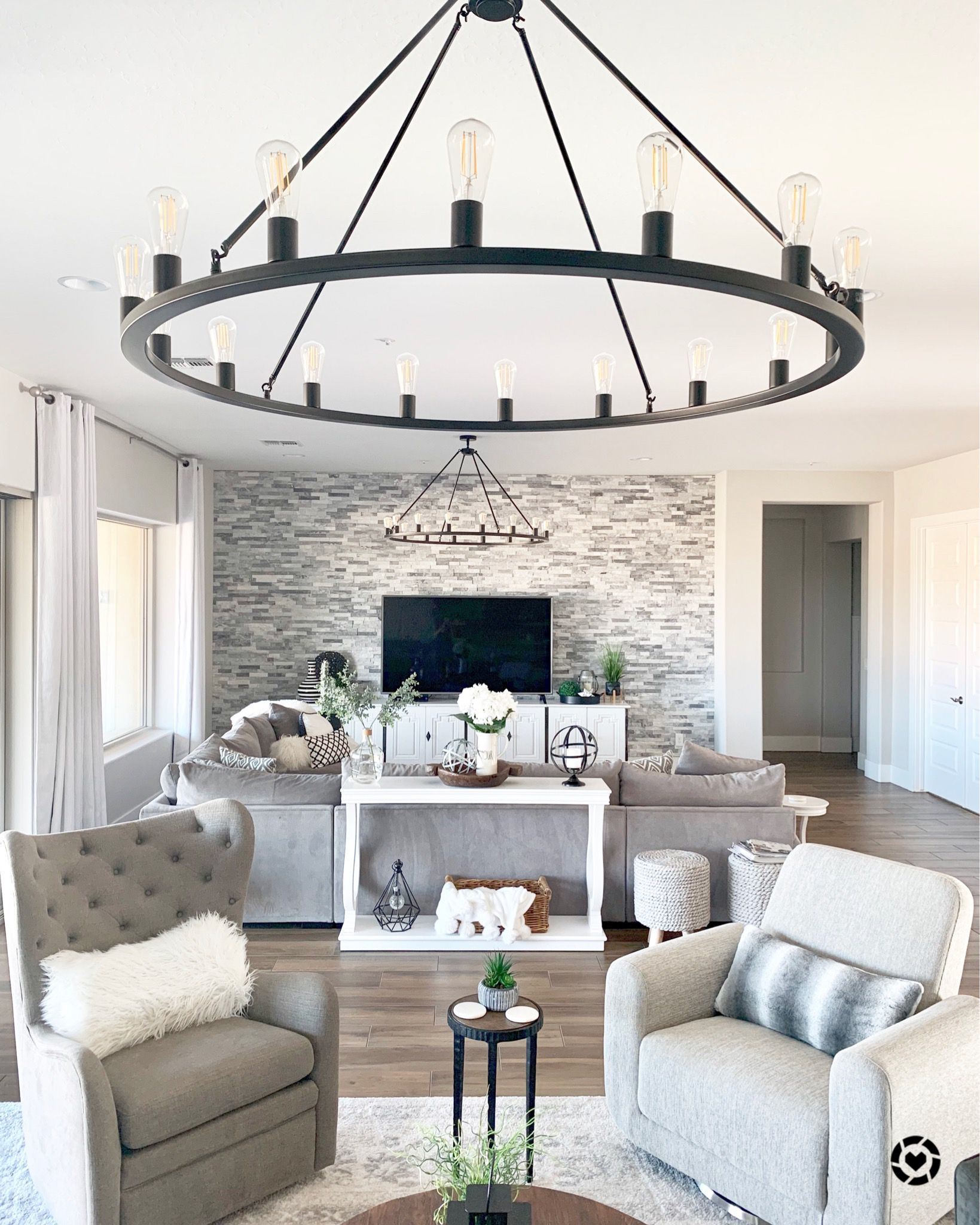 Modern Farmhouse Glam Great Room Chandeliers Great Rooms