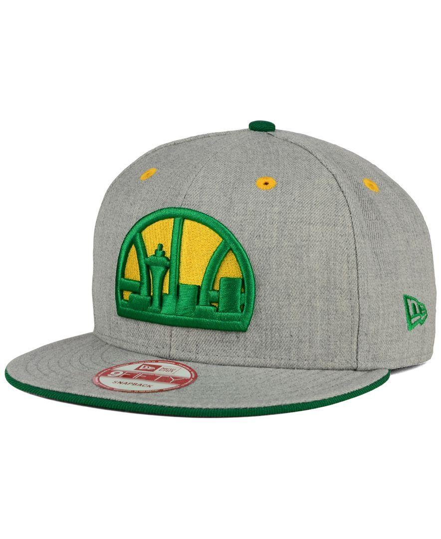 New Era Seattle Supersonics Heather 9fifty Snapback Cap Sports Fan Shop By Lids Men Macy S Snapback Hats Cap Snapback Cap