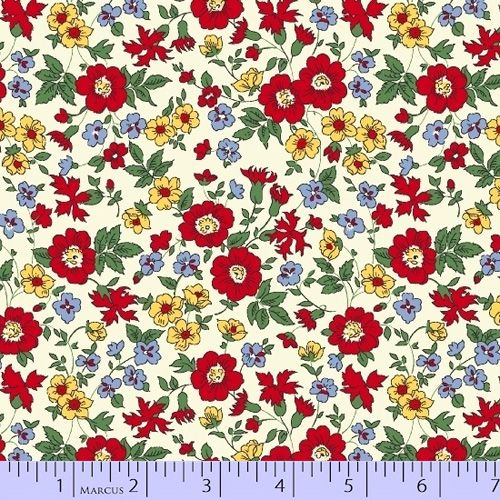 Aunt Grace BLUE white flowers 1930/'s style by the 1//2 MTR cotton quilt fabric
