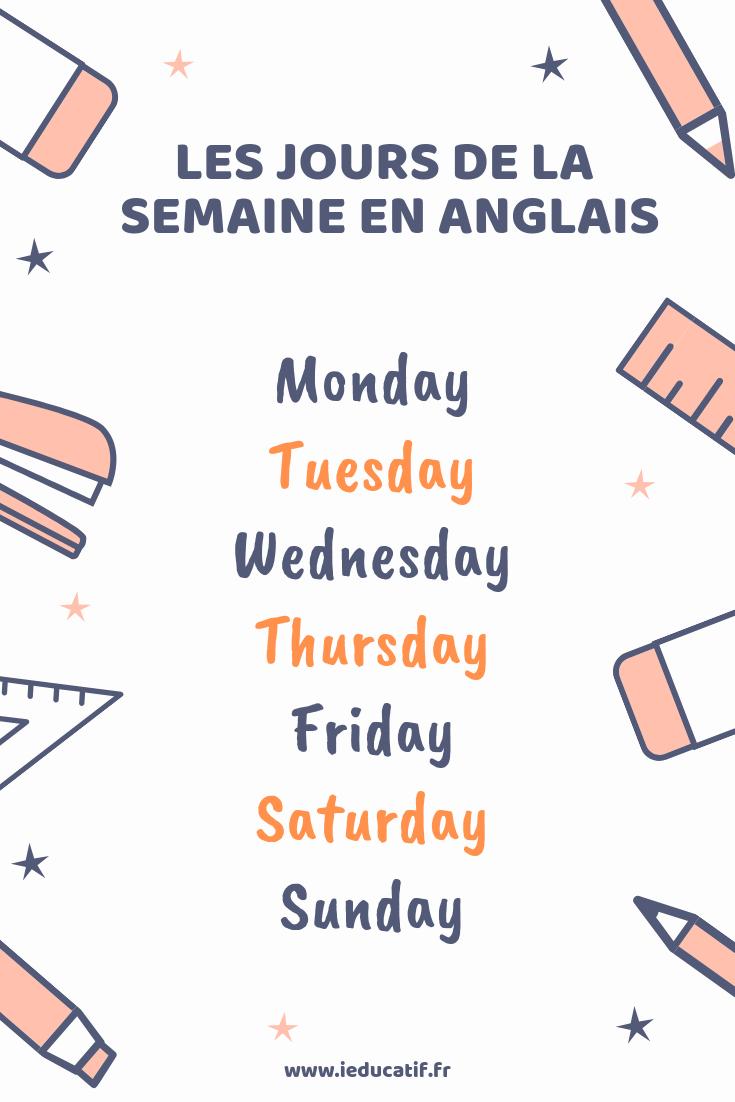 Tableau Jour De La Semaine En Anglais : tableau, semaine, anglais, Poster, Afficher, Apprendre, Jours, Anglais., L'anglais,, Anglais,, Anglais