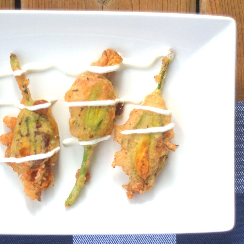 83 Honey, Walnut & Mascarpone Stuffed Zucchini Flowers