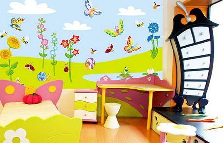 Amazing Colorful Flowers Garden Cartoon Wall Murals in ... - photo#41