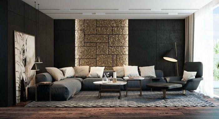 wohnzimmergestaltung ideen in schwarz Wohnzimmer Ideen - designer wohnzimmer schwarz