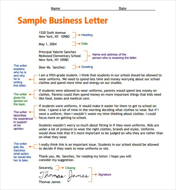 business letter format for kids