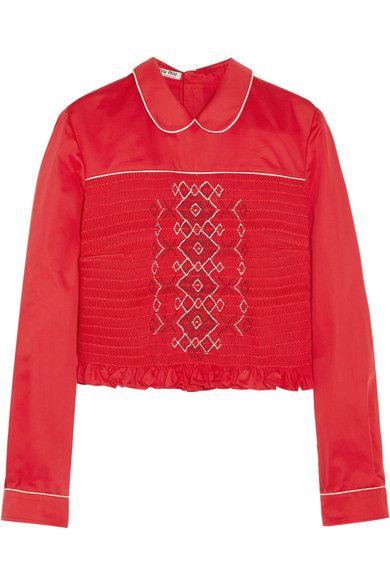 53624d75f85 MIU MIU Smocked Embroidered Poplin Top.  miumiu  cloth  tops