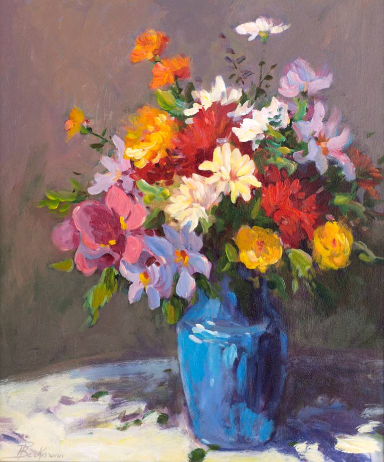 Blue vase of Spring Flowers Painting