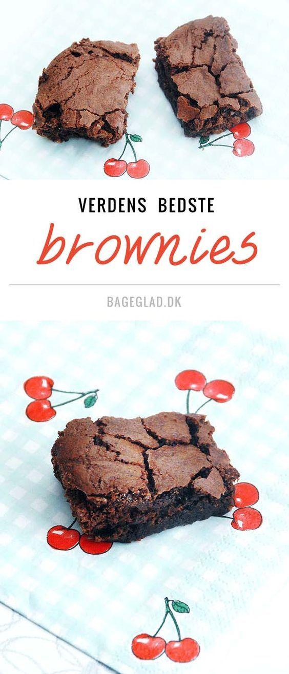 Svampede lækre chokolade brownies opskrift fra Bageglad.dk (Recipe in Danish)