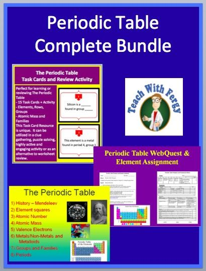 Periodic Table Complete Bundle Lesson Webquest Task Card And