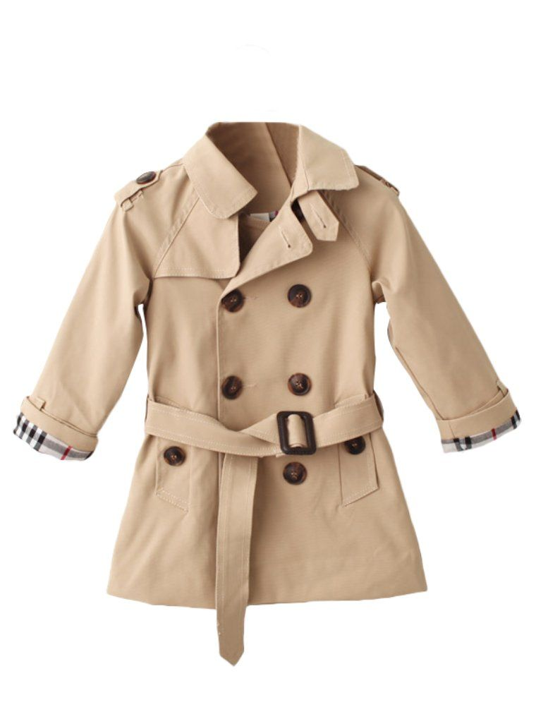 cdb28ccdc753 Mallimoda Girls Boys British Cotton Blend Trench Coat Jacket Double ...