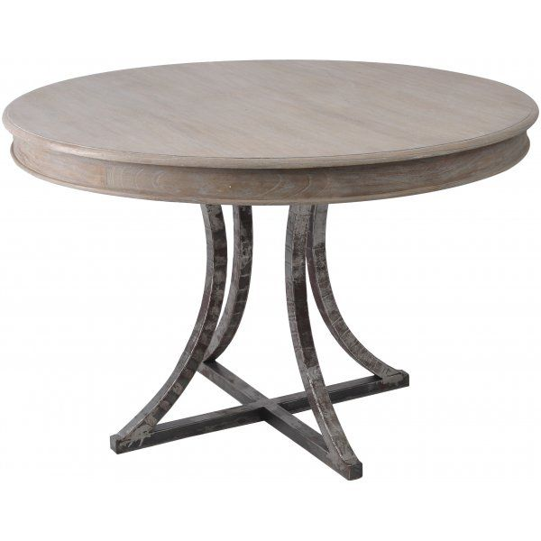 Distressed Wood And Metal Circular Dining Table Metal Dining Table Circular Dining Table Metal Round Dining Table