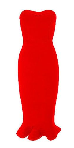 elegant, body-con fit, length below knee, mermaid hem, strapless, back zipper Occasion: Club wear, Wedding and Cocktail Parties Material: 90% rayon /9% nylon/ 1% spandex Color - Red Size -X-Small, Sma