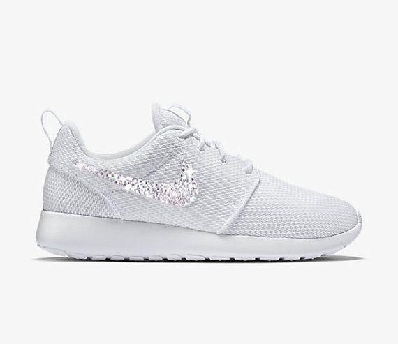 9f4e48845871 Swarovski Nike Roshe Run - Womens Bling Nike Roshe - Custom Nike White Roshe  Rhinestones - Bling Nike Shoe - Custom Crystal Nike Shoes