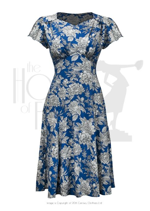 40s Wartime Sweetheart Tea Dress - Fashion 1930s, 1940s & 1950s style - vintage reproduction