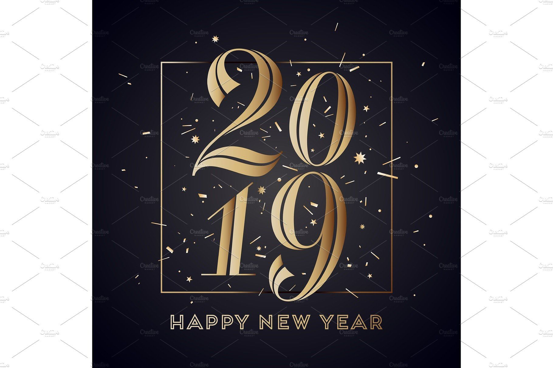 2019. Happy New Year. Greeting card inscriptionstyle