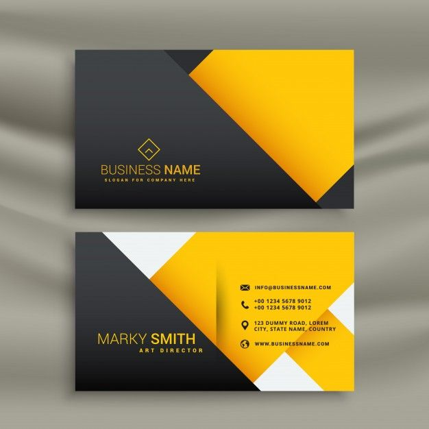 Download Yellow And Black Geometric Business Card For Free