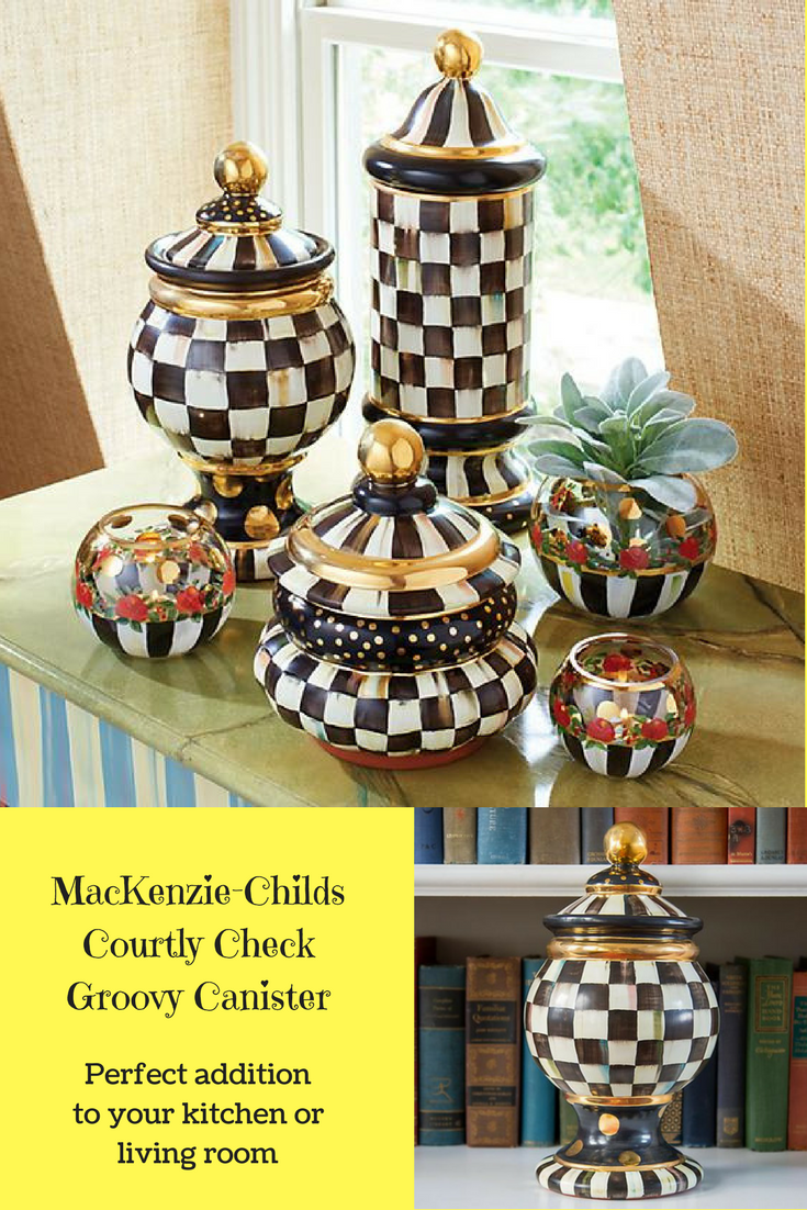 MacKenzie Childs Courtly Check Groovy Canister Handcrafted ceramic