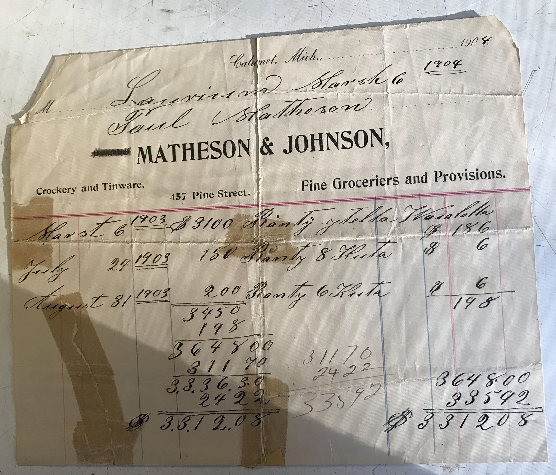 1904 invoice calumet michigan matheson johnson groceries
