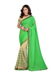 Shonaya Green & Beige Color Georgette & Net Embroidered Saree With Unstitched Blouse Piece
