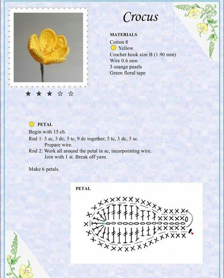 Crocus Flower Crochet Diagram Pinterest Crochet Flowers