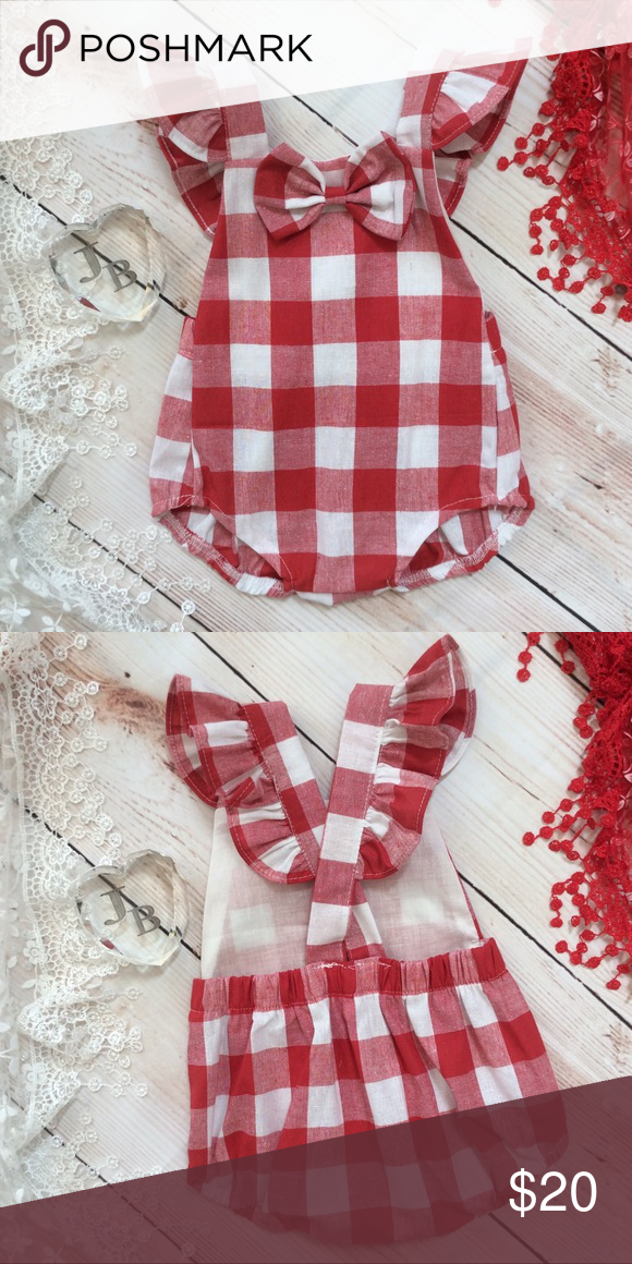 f119ca93ea1 Boutique Baby Girl red   white Checkered Romper Adorable baby girl red   white  checkered halter
