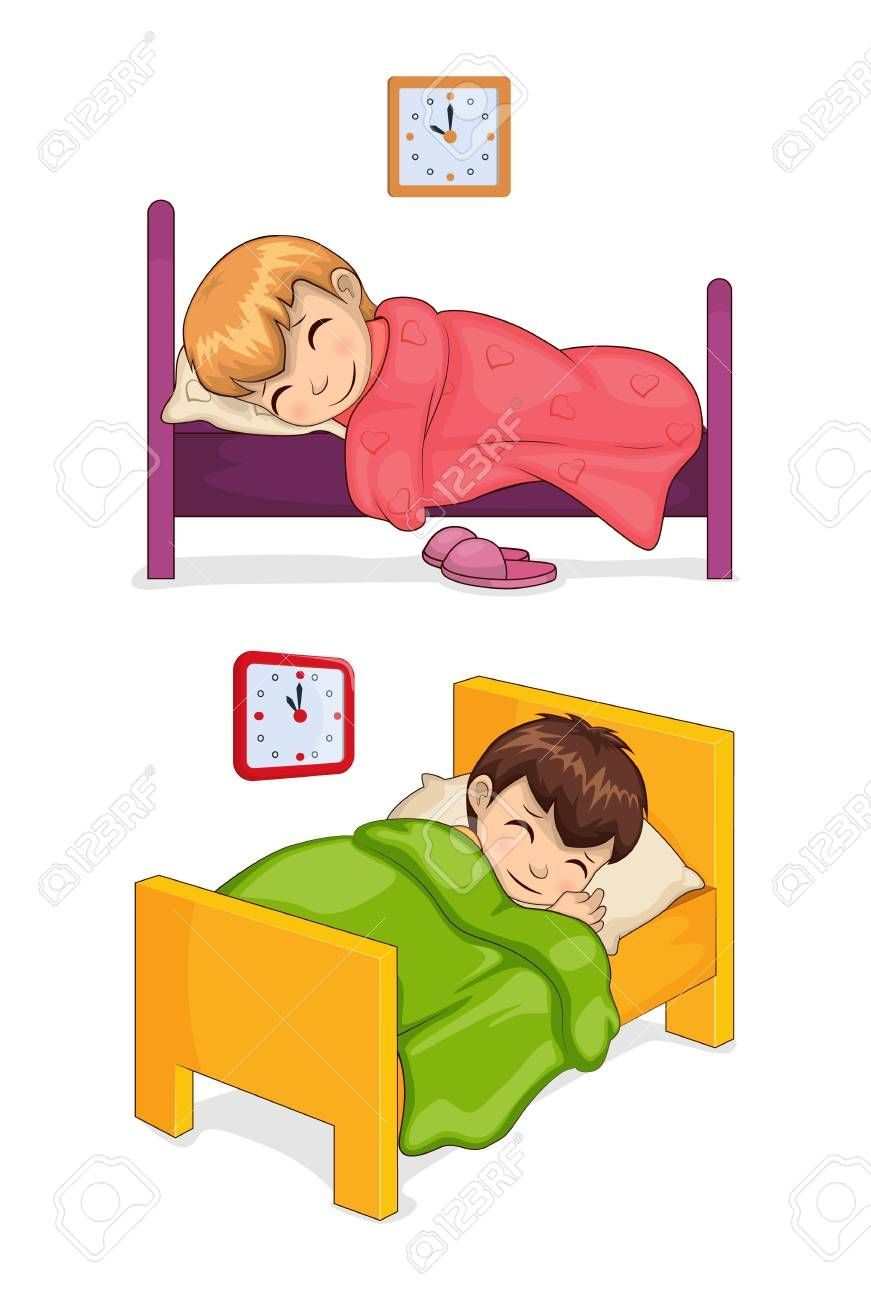 Bed Time For Little Children In Cozy Beds Set Girl And Boy Sleep