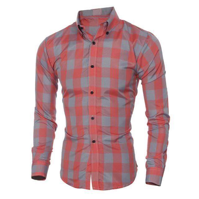 Mens Vintage Checks Plaid Shirts Long Sleeve Slim Fit Buttons Turn Down Collar Button Down Casual Formal Dress Shirts Lapel Tops