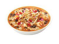 Qdoba Mexican Gumbo: Tortilla soup, meat, brown/cilantro lime rice, salsa/pico de gallo, corn chile, fajita veggies, cheese, chips