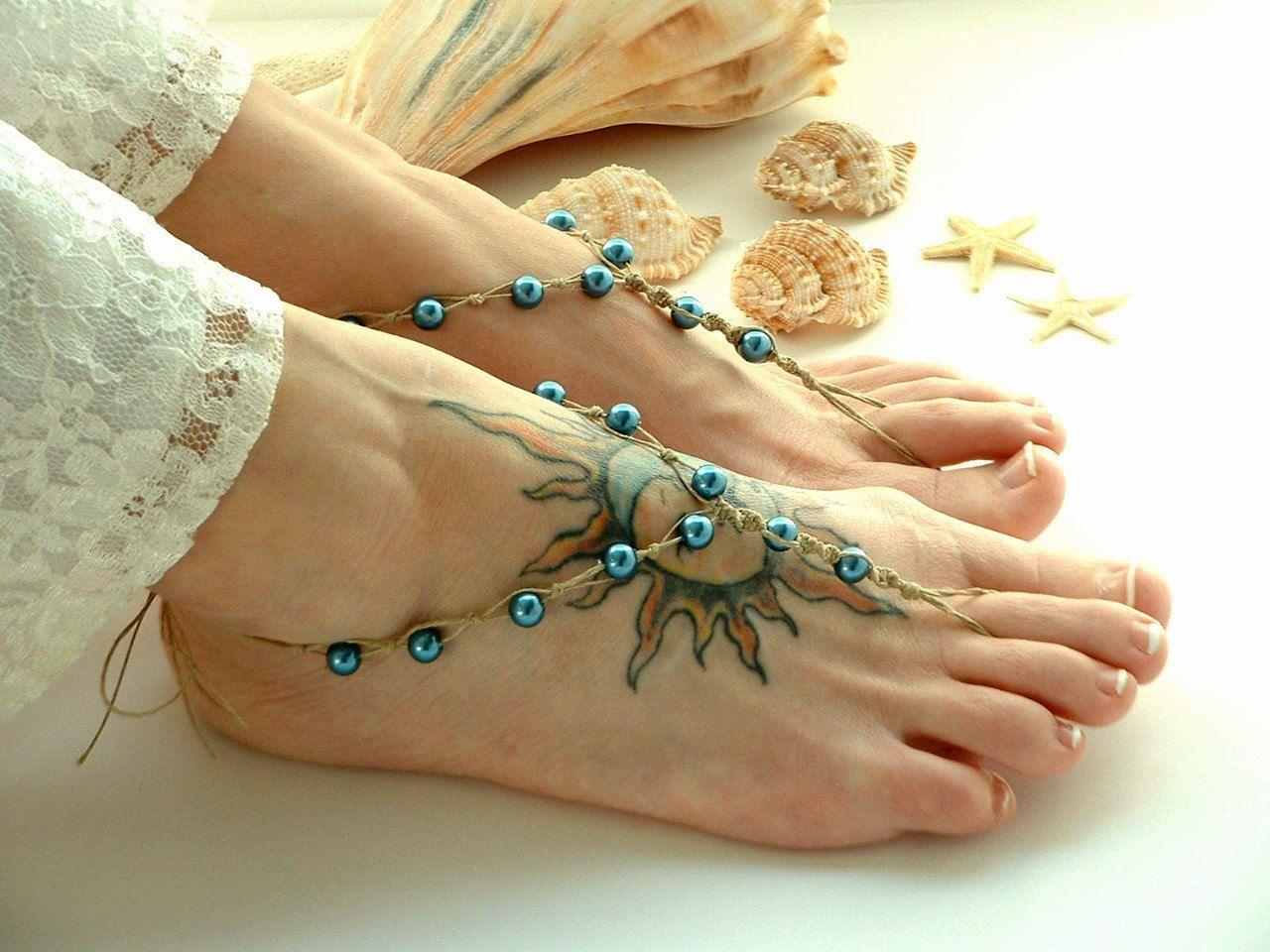 Handmade Barefoot Sandals Teal Blue