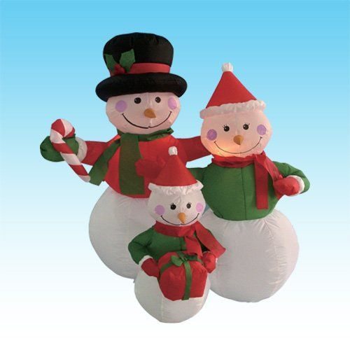 4 Foot Inflatable Snowmen Family Holding Gifts BZB Goods   www - christmas blow up decorations