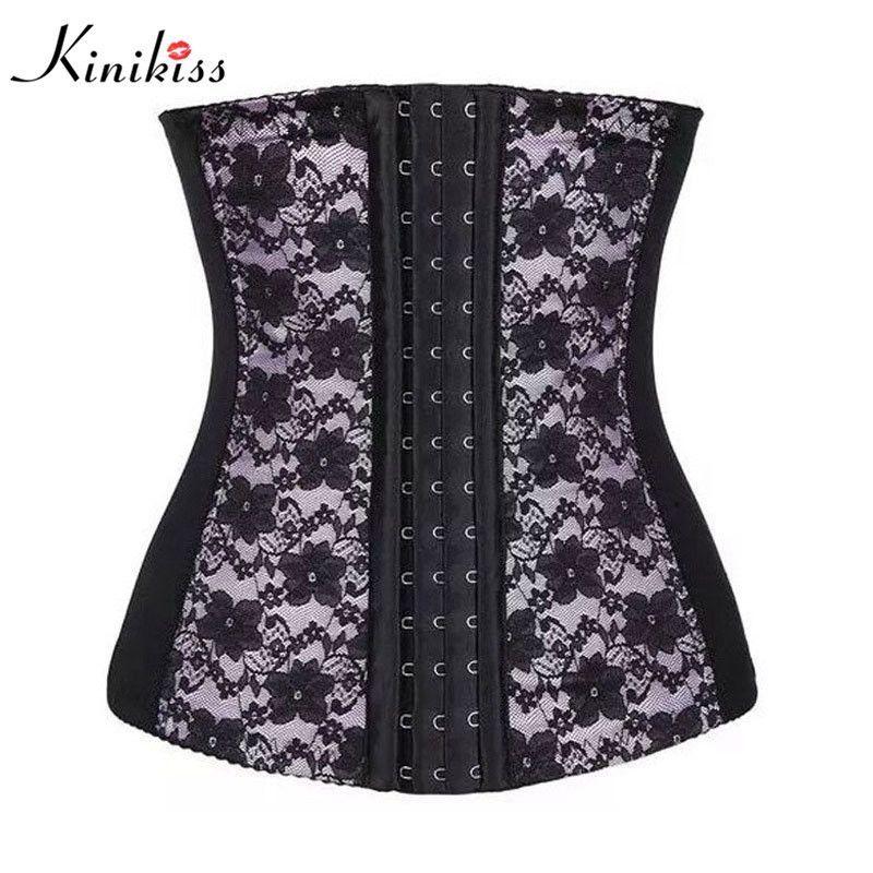 Kinikiss waist slimming bustier corset trainer lace style steampunk under bust corset shaper for women steel boned corset belt