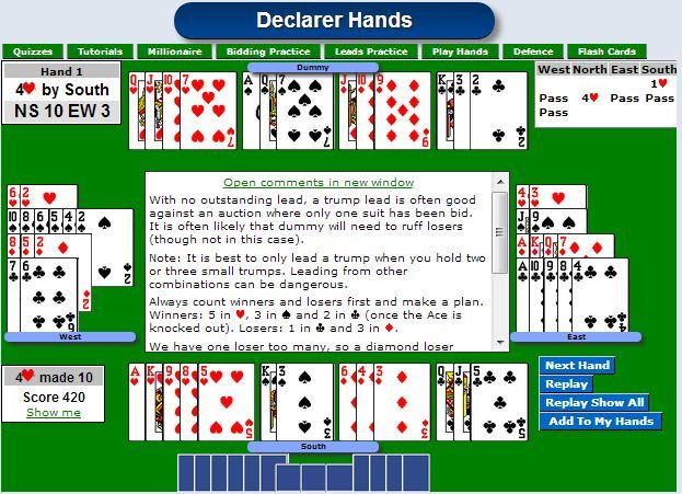 Acol Bridge Practice Hands With Images Bridge Card Game