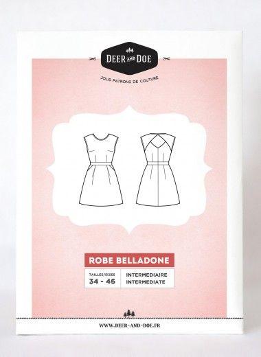 Naaipatroon Belladone: jurk met open rug maat 34 tot 46, Deer and ...