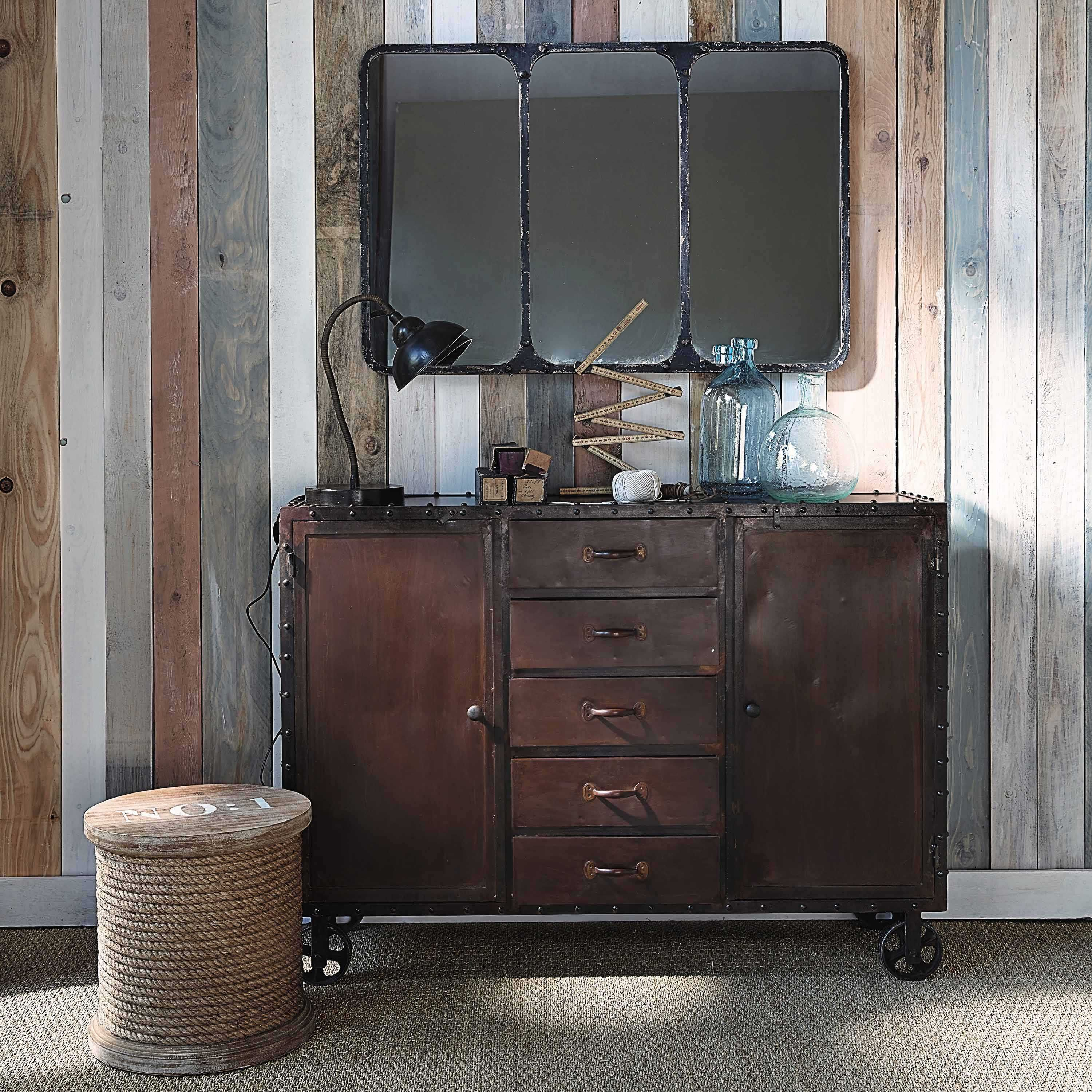 miroir indus en m tal noir 106x72 industriel pinterest m tal mobilier de salon et m tal noir. Black Bedroom Furniture Sets. Home Design Ideas